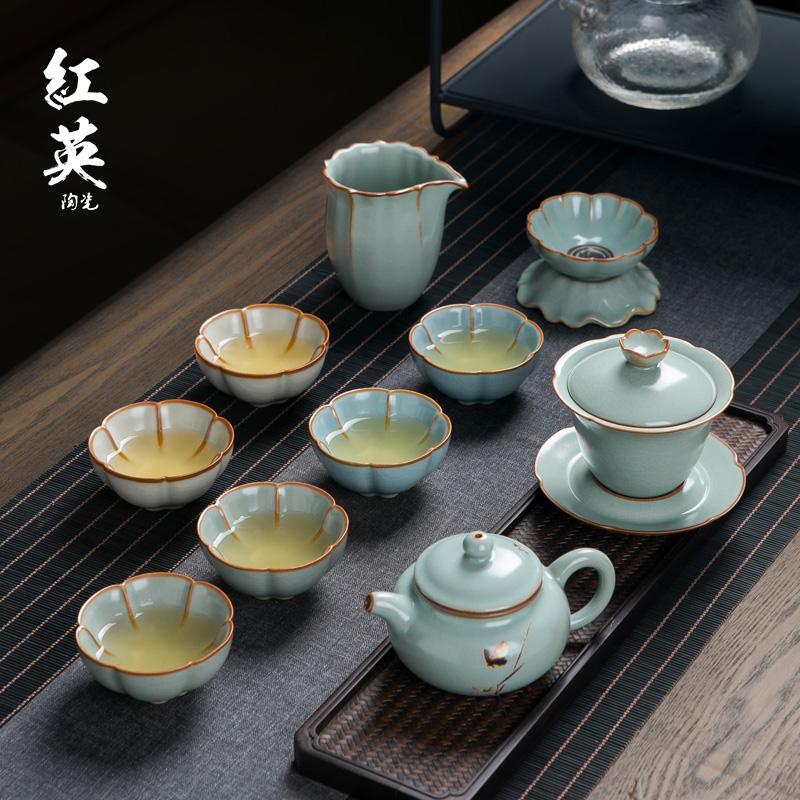 Yan kiln ice crack kung fu tea set home living room open a light luxury teacourse Jingdezhen ceramic teapot