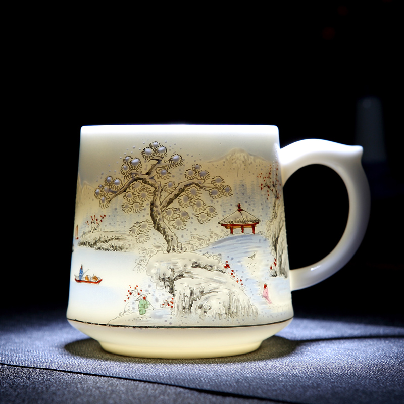 Jingdezhen ceramic teacum hand-painted office cup large capacity with cover tea separation filter cup personal tea cup