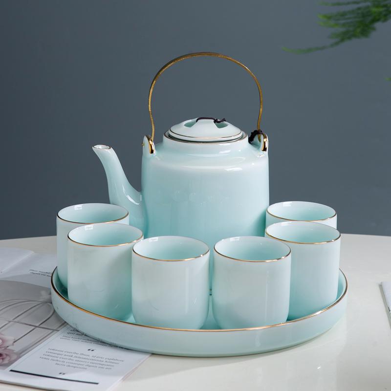 Jingdezhen ceramic kung fu tea set home simple large shadow blue porcelain tiliang tea plate tea plate make teapot