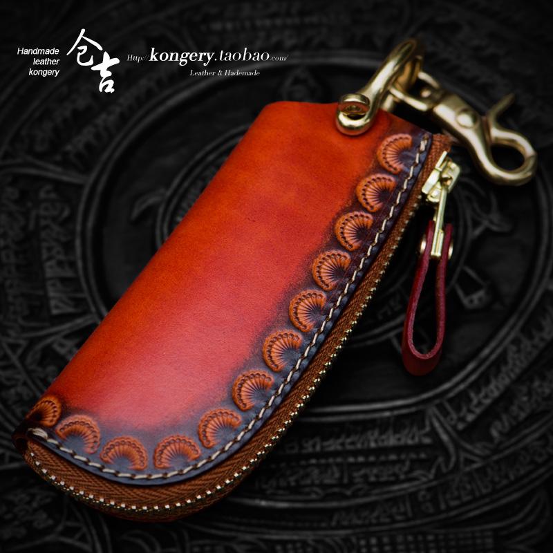 Cangji hand key bag men and women retro car key bag leather zipper small bag key bag key fob key ring