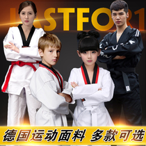 Taekwondo clothing children adult clothes cotton black men and women clothing spring and summer to carry the boxing trail beginner training Clothes