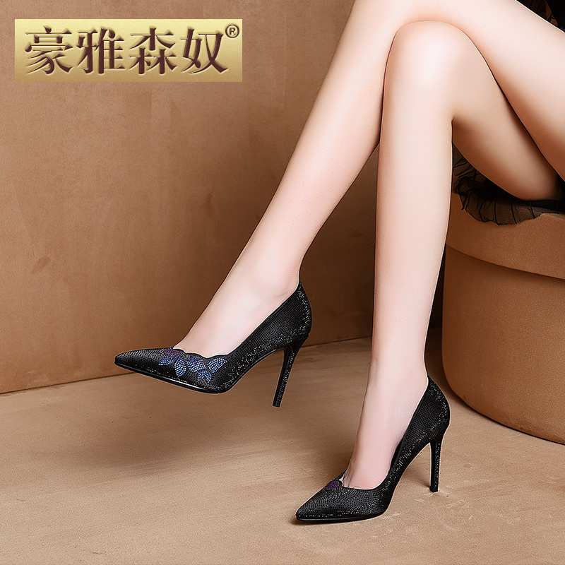 豪雅森奴2018 autumn new black single shoes high heel women's shoes rhinestone shallow mouth stiletto fashion pointed single shoes