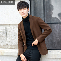 Double-sided casual mens fit Korean cashmere winter suit