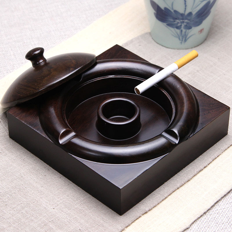 Ebony ashtray office living room Chinese style personality retro solid wood trend multi-functional ashtray with lid