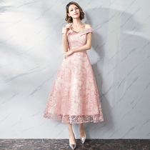 Evening dress 2018 New style banquet long dress female pink short sleeve dignified atmosphere small dress bridesmaid Costume