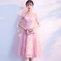 Summer party pink dress one word shoulder lace bridesmaid Costume