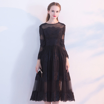 Banquet repair black party elegant lace dresses