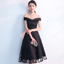Party one word shoulder lace black dress skirt