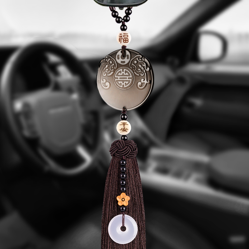 Car trailer interior crane high-end rear-view mirror car pendant jewelry Ping An character protection car pendant male goddess
