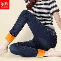 Black velvet high waist thickened slim slimming stretch thermal pants