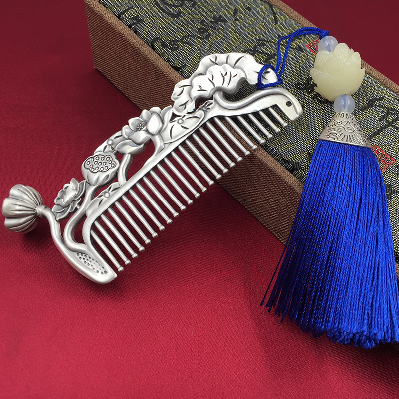 Silver comb 999 pure silver comb womens 髮 comb gift to mother lotus scrape snowflake cooked pure silver comb
