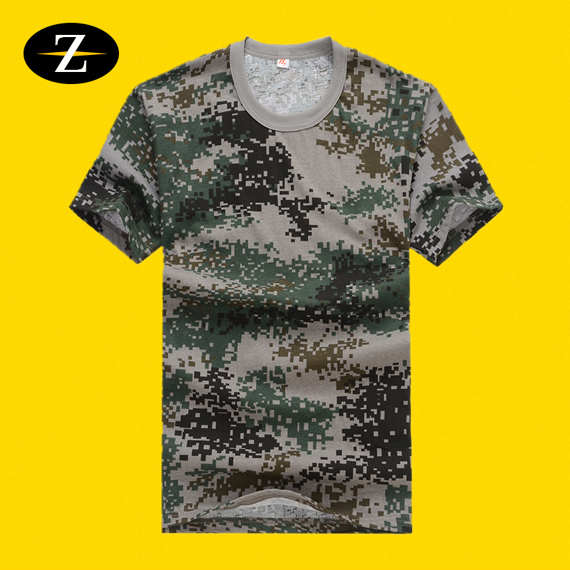 Summer short-sleeved camouflage T-shirt men and women round neck fitness training suit camouflage short-sleeved t-shirt student military training suit T-shirt