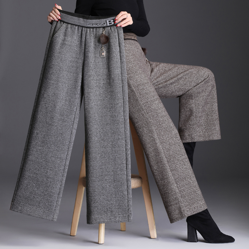 Wool broad-legged pants women high waist feeling autumn and winter nine minutes 2020 new casual long pants loose straight pants