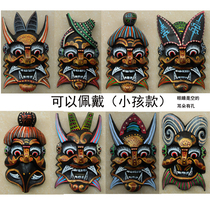 Factory price to sell pure handmade wood carving nuo noodle props play mask medium Gold Nuo 14*24cm around