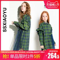 1 шт 50%] весна и лето новый темно-зеленый носить плед лацкан родитель и ребенок рубашка мать и дочь платье сетчатая куртка