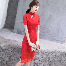 Chinese style red elegant summer dress