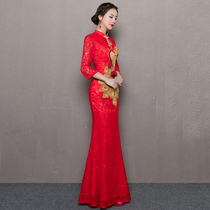 Autumn red lace Chinese fitted mermaid wedding dress
