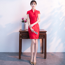 Summer Chinese wind fashion red V collar self-cultivation wedding dress