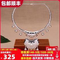 S999 sterling silver long life lock collar Foot silver lock pendant Male and female baby baby bracelet coil full moon year-old gift