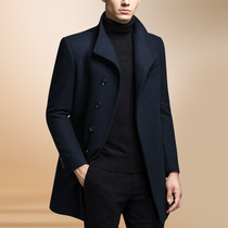 Autumn and winter wool coat in the long version of mens windshield business casual cashmere wool double-sided coat collar