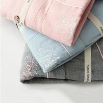 Весна и осень хлопок любителей с длинным рукавом пижамы вышивка двуслойная хлопок марлевые дамы два шт набор дома износа