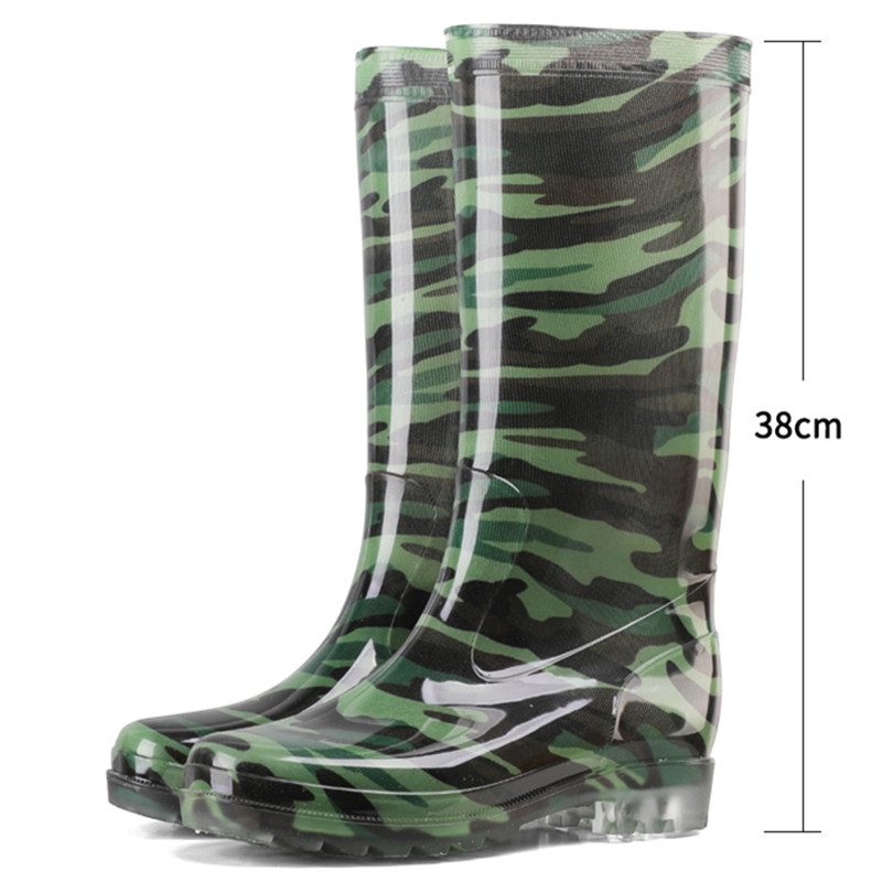 Spring and autumn transplanting high barrel camouflage men's rain shoes cultivation field antiskid waterproof rubber shoes long barrel water shoes rubber soled boots