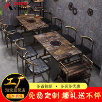 Restaurant Marble smoke-free hot pot Table Induction Cooker Integrated commercial custom string incense pot table and chair combination