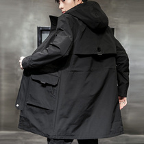 Windwear mens 2020 autumn new trend Korean version handsome British coat spring and autumn long version thickened mens jacket