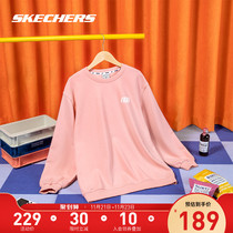 Skechers Sketch Winters new womens off-the-shoulder tidal collared hoodie sports loose-fitting casual wear