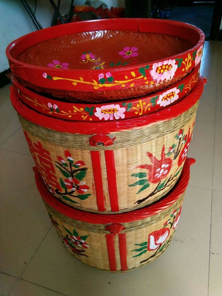 Bamboo Basket Big Marriage Dowry Engagement Full Moon Moving Happy Dustpan Bamboo Products Pure Handmade Bamboo Basket