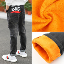 Boys plus velvet pants children jeans 2019 new tide in the Big childrens clothing boy autumn and winter thickening section of one cashmere