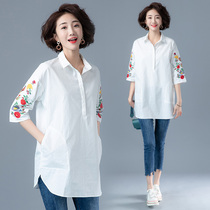 Plus size womens spring loaded Korean version of the shirt female loose tops 2020 new fat sister shirt long section
