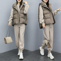 Large size womens autumn and winter plus velvet vest suit fashionable fat sister thickened and thin three-piece set.