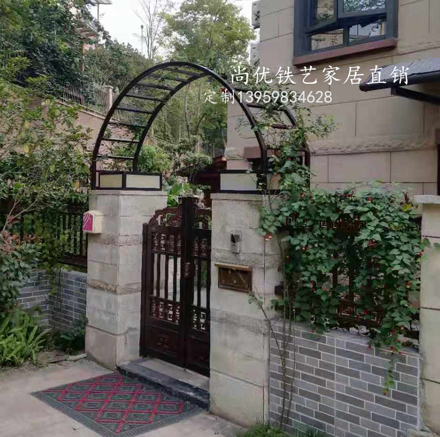 Iron Arch European courtyard door stack semi-circular arch garden rose climbing rattan moon flower rack iron wire lotus shelf