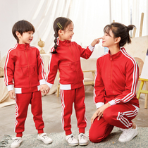 Kindergarten uniforms primary school uniforms spring and autumn winter red teacher sports uniforms striped set childrens class clothing