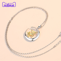 Silver Siheng 925 sterling silver unicorn moon pendant necklace ins minimalist temperament tidal net red YSH1904.