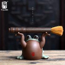 Тао вентилятор верхней ручкой в руки Yixing фиолетовый песок чай пэт кусок каменной лягушки грубой керамики скульптуры ремесел чайной церемонии