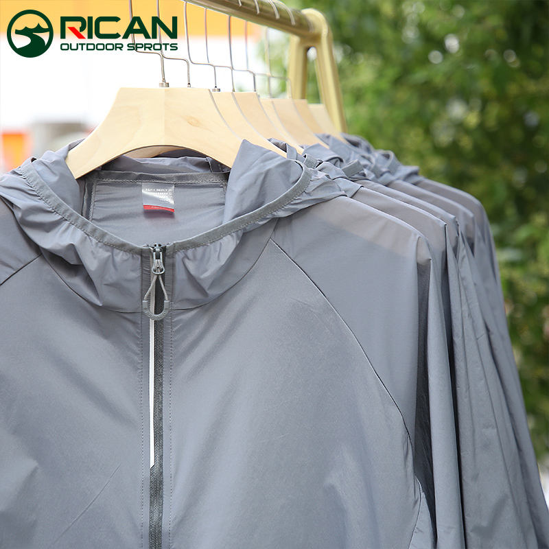 Sunscreen mens summer ultra-thin breathable ice silk mens outdoor light skin clothing fishing sun protection jacket women