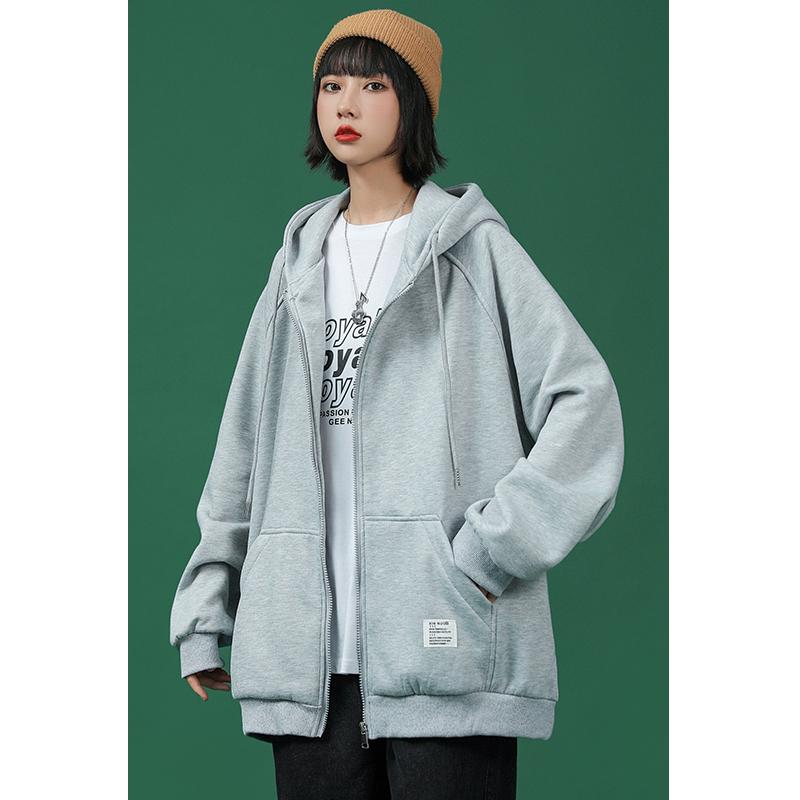 2021 Spring Autumn hooded womens Korean version of sports casual jacket loose student cardigan zip hoodie