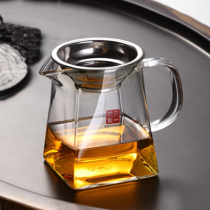 Glass fair teaware with tea leakage one tea sea quartet kung fu tea set thickened heat-resistant high-end suit