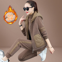 Thick plus velvet sports suit women autumn and winter 2021 new cashmere fashion sweater three-piece casual clothing