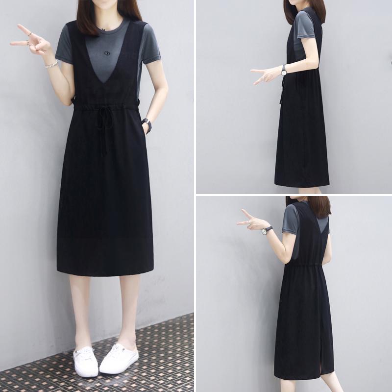 Mealiers two-piece strap skirt 2021 summer new medium-long loose thin fashion casual dress women