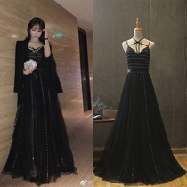 Star fashion black long style Banquet ladies sexy Bridesmaids gowns