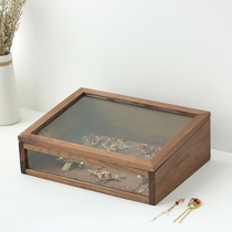 Walnut Jewelry Receiving Box Cosmetics Box Desktop Receiving Wood Box Solid Wood Handicraft Glass Display Box