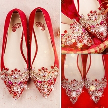 Pointed Rhinestone Chinese wedding shoes female