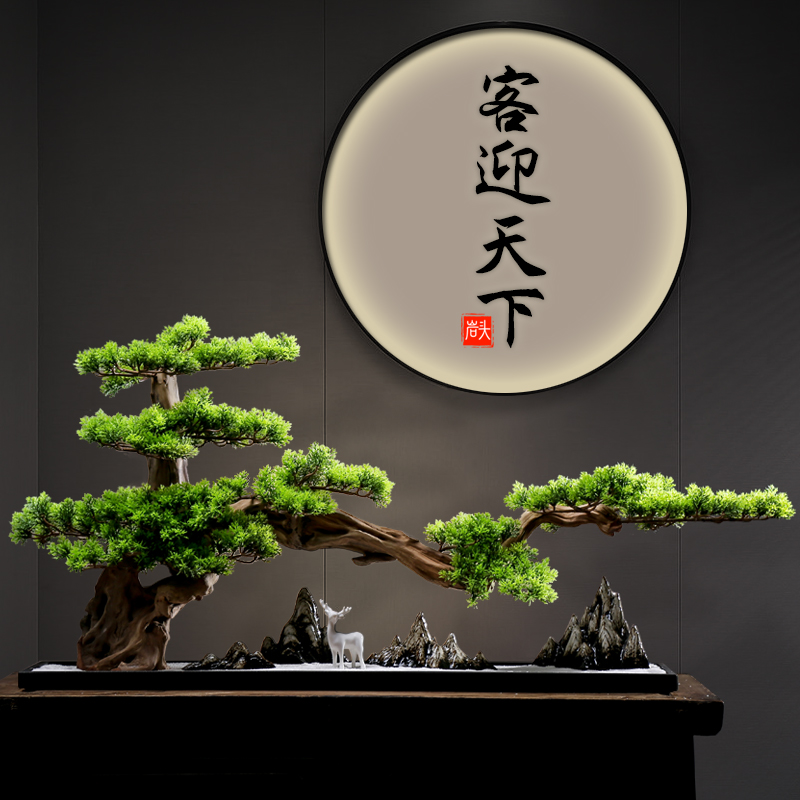 Large-scale welcome pine ornament bonsai ornaments home jewelry Xuanguan Hotel clubhouse decoration of the new Chinese style