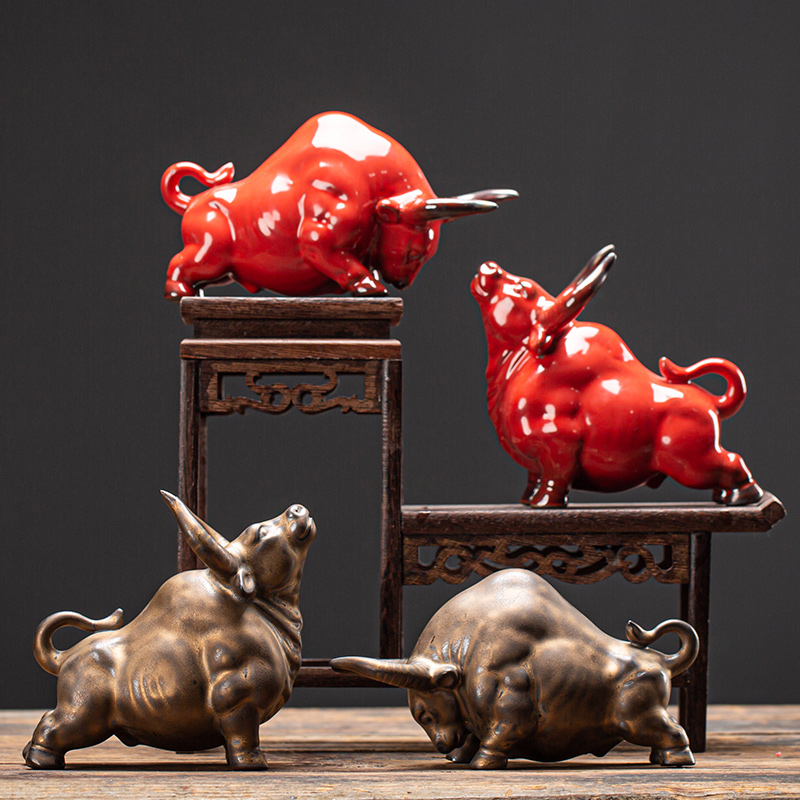 Ceramic zodiac cattle steamy home decoration Bogu rack set pieces of new Chinese living room office gifts