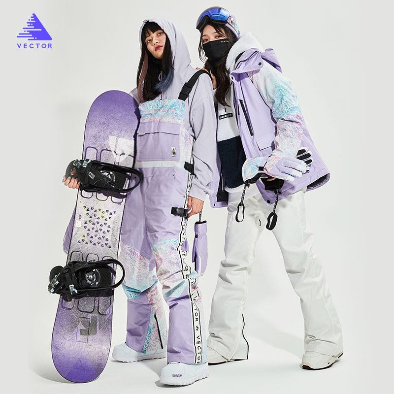 2021 new skiwear female star with the tide brand color printing baby bag two-piece ski equipment ski pants