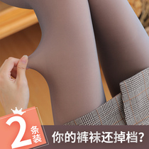 Autumn and winter leggings fake through meat pantyhose stewardess Gray through skin pants plus velvet thickening one leg stockings artifact female