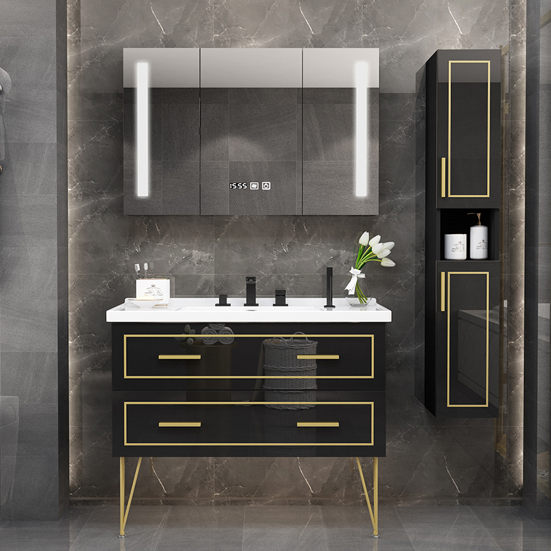 Nordic bathroom cabinet combination floor-type washbasin, sink, toilet washstand, waterproof, light and luxurious bathroom cabinet